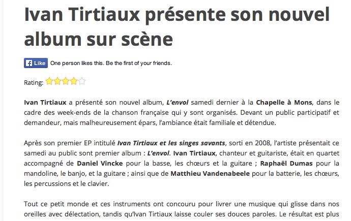 Le Suricate Magazine, chronique de concert, nov 2014